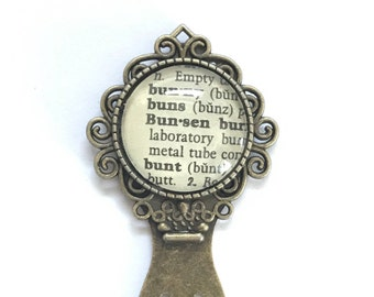 Bunsen Burner Book Mark, Dictionary Metal Bookmark, Scientist, Science Teacher, Bunny, Bunt, recycled dictionary, Vintage, gift for teacher