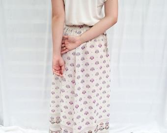60s Semi - Sheer Maxi Skirt, Floral Print Maxi Skirt, Vintage Flowy Skirt, Linen Printed Maxi Skirt, 60s Maxi Skirt, Sheer Maxi Skirt
