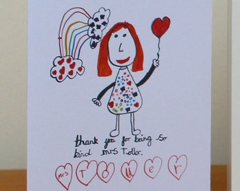 "Teacher ""Thank You"" Cards - Your children's drawings made into cards!"