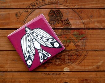 Decorative tile, bird tiles, limited edition tile, boho home decor, ceramic handmade art tile, made to order tiles,burgundy, withe and black
