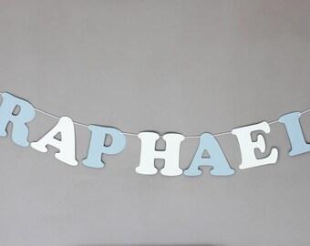 Guirlande prénom en papier sur cordon en coton enduit - prenom + 2 nuages