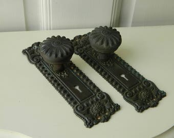 Complete Set Victorian Door Hardware, Antique Door Knobs, Door Plates, Mortise Lock, Ornate Hardware, Pair of Escutcheons