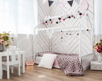 Nursery bed, frame bed, play house, house bed, bed home, home bed, kid bed, toddler bed scandinavian design baby bed waldorf developing toys