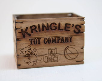 Dollhouse Miniature Handmade Lasercut Wood Crate for Kringle's Toy Company (1/12 Scale)