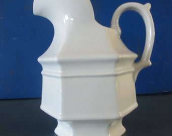 White pitcher Haeger USA #8063 ceramic large 9 inches tall