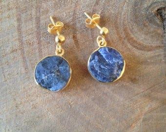 Raw sodalite gemstone gold earrings,gift for her
