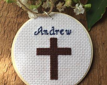 Baptism Ornament, Baptism Gift, Religious Ornament, Personalized Ornament, Religious Gift, Cross Stitch Art