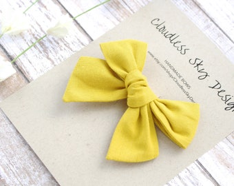 hair bows, yellow bow, girls hair bow, school hair bow, hair bow for girls, baby hair bow, fall bow, yellow bow clip, tied bow