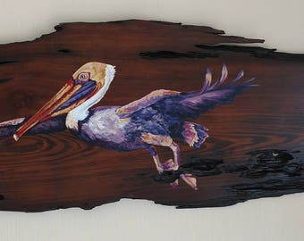Pelican in Flight on Reclaimed Cypress