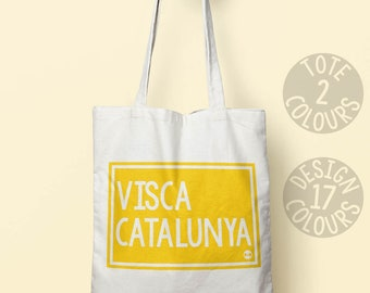 Visca Catalunya, Viva Catalonia strong canvas tote bag, reusable bag, european protest, spanish demonstration march, resistance equal rights