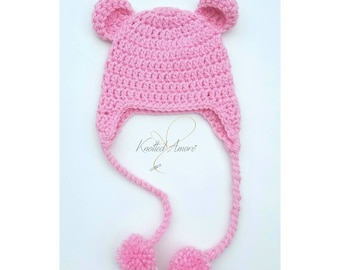 Crochet Bear Hat, Bear Hat, Animal Hat, Baby Girl Bear Hat, Baby Boy Bear Hat, Newborn Bear Hat, Bear Photo Prop, Animal Hats for Babies