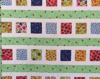Lady Bug Kid's Quilt, Cheery Baby Quilt, Bright Lady Bug Small Quilt, Handmade Lady Bug Quilt