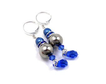 Stud Earrings, blue Sapphire Swarovski Crystal, brass and stainless steel Silver, statement