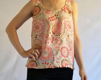 The Sunshine Tank: Women's Linen Sleeveless Top in Apricot Print