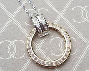 """Real 9ct Yellow & White Gold Circle of Life and Love Pendant Necklace 16"""" 18"""" 20"""""""