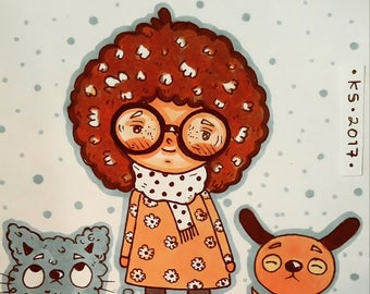 Afro girls, a set of 3 original illustrations