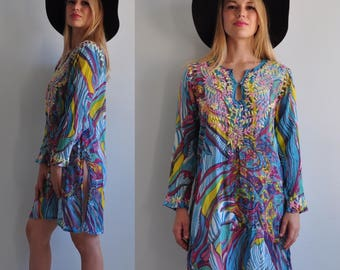 Vintage Psychedelic Embroidered Indian Cotton Tunic Swim Suit Cover Up Dress // Small // Festival Hippie