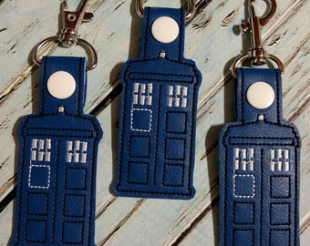 Police Box Key Fob, Zipper Pull, Bag Tag