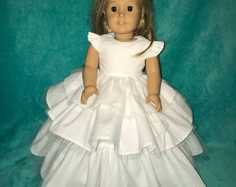 18 inch White Doll dress,18 inch long dress,American Girl doll clothes,18 inch doll clothes,Three ruffle doll dress,ruffled doll dress