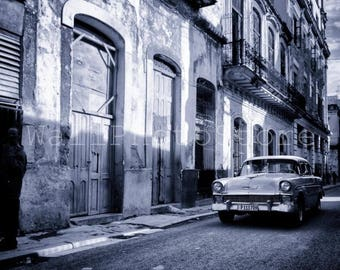 Cuba Street Photography, Vintage American Cars, Havana, Black and White Photography, Car Photography,  Fine Art Photography, Cuba Print Art