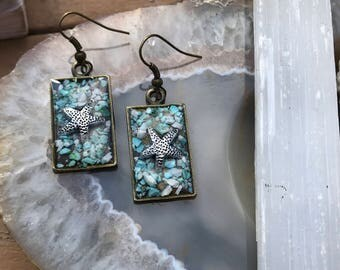 Starfish Resin Earrings with Crushed Turquoise and Seashell