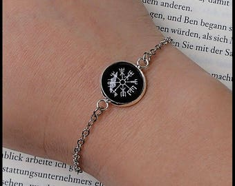 Bracelet vegvisir rune compass magic protector weather iceand icelandic viking germanic