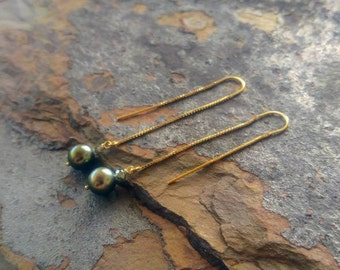 Tahitian Pearl Gold Threader Earrings