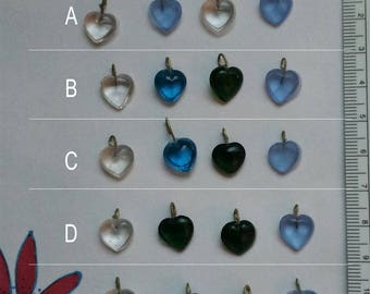 Four Glass Heart Beads with Loops - Pick Your Set - Great for Dangling Earrings and to Use for Charms