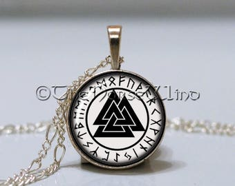 Handcrafted Viking Necklace Valknut Pendant / Death Knot Silver Plated Ancient Runes Pendant Viking Amulet Viking Jewelry