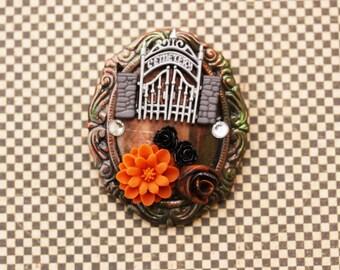 Halloween Cemetery Cameo Brooch - Handmade Halloween Cameo Brooch - Halloween Cameo Pin - Handmade Halloween Brooch