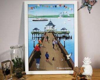Framed Clevedon Pier A3 poster