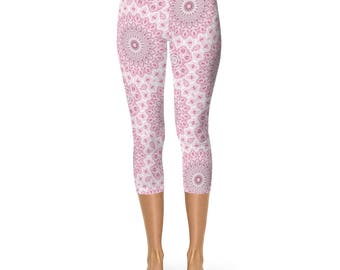 Pink Capri Leggings, Yoga Pants, Mandala Flower Leggings