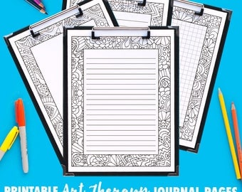 Printable Coloring Journal Pages | Art Therapy B (10 Pack) | 4 versions | PDF includes grid, small lines, big lines and blank variations