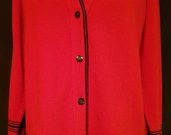 Vintage 1980's 80's red and black longer length  geek / granny / preppy cardigan UK size 12 - 14