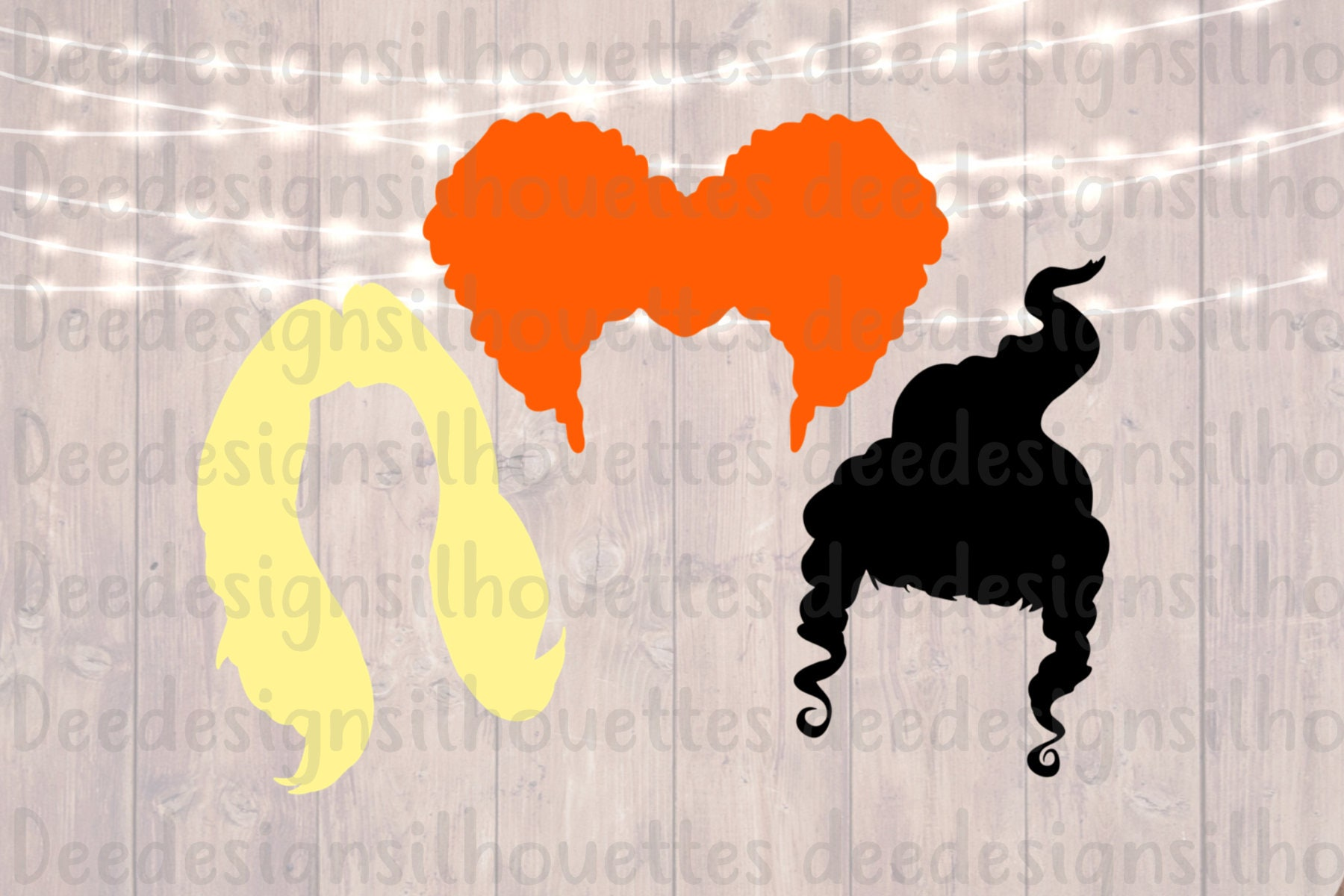 Hocus Pocus Hair Silhouettes Svg Png Cut File From