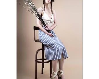 Midi skirt, skirt with buttons, summer skirt, striped skirt, cotton skirt, high waist skirt, skirt with pockets, lightweight skirt.