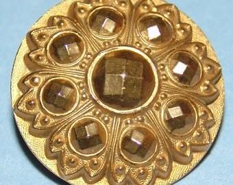"Fantastic Division 1 Antique Button ~ NOS  1"" Gold Gilt Brass Button ~ Fresh From a Salesman's Card ~ Victorian Heavy Brass Button ~ Nice!"