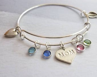Family Tree Bracelet, Personalized gift for mom, Birthstone Bracelet, Valentines day gift for her, Mom bracelet, bangle bracelet, birthstone