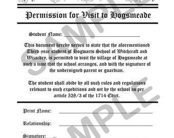 Hogsmeade Permission Form