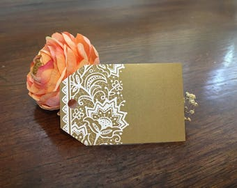 """50 Lace Printed Gift Tag - White and Gold - Hang Tag - 2 1/4"""" x 3 1/2"""" - 50 count - NWPTLAC"""