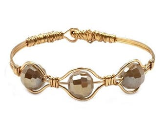 Grey - Gold Wire Wrapped Hinged Bracelet