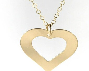 Open Heart Necklace, Gold Necklace, Heart Pendant, Dainty Necklace, Gold Heart Necklace, Simple Necklace