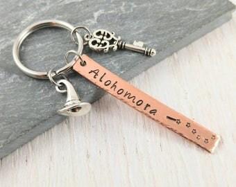 Alohomora Keychain- Wizard Hat- Witch Keychain- Magic Spells- Gift under 20- Stocking Stuffer- Wizard keychain- Skeleton Key- Magic Wand