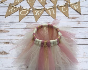 Ivory, Gold, Pink tutu, Flower Girl Tutu