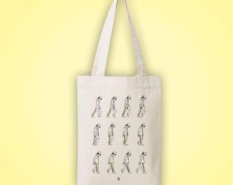 Sac cabas en toile recyclée (recycled woven tote bag, shopping bag) MOONWALK Michael Jackson dessin illustration