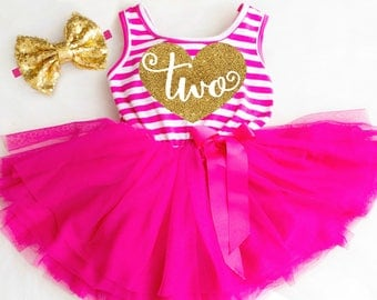 2nd Birthday Girl Outfit Second Birthday Outfit 2nd Birthday Dress Second Birthday Dress 2nd Birthday Pink and Gold Two Birthday Outfit