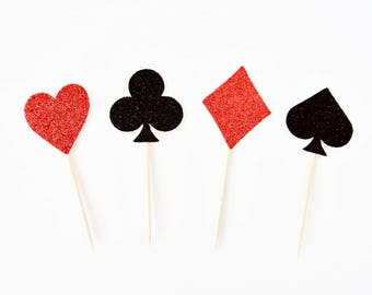 Card Suit Cupcake Toppers - Set of 12 - Heart Club Diamond Spade