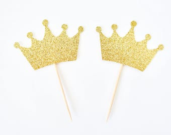 Glitter Crown Cupcake Toppers - Set of 12