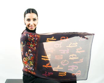 Armenian Alphabet Silk scarf with Painting imprint