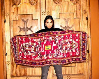 Armenian Alphabet scarf on antique rug design by Anet's Collection